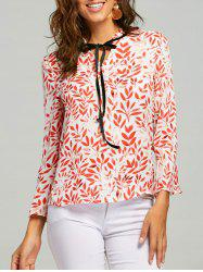 Mock Neck Self Tie Blouson imprimé feuille - Rouge M