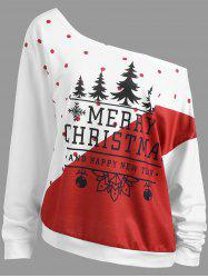 Christmas Tree Plus Size Two Tone Sweatshirt -