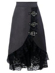 Lace Tier Ruffles Midi Skirt - BLACK S