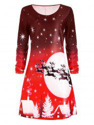 Christmas Deer Long Sleeve Tee Dress - RED S