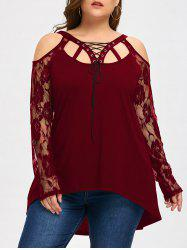 Halloween Plus Size Lace Trim Cold Shoulder Top -