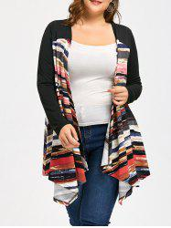Long Print Plus Size Asymmetric Coat -