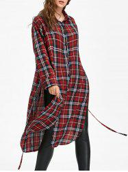 Button Down Long Blouse Checked Dress with Tie -