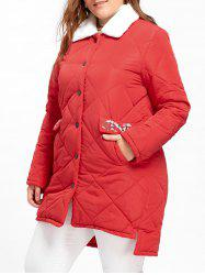 Plus Size Floral Embroidered High Low Padded Coat -