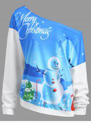 Merry Christmas Snowman Moon Plus Size Sweatshirt -