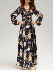 Plunging Neck Floral Print Maxi Dress -