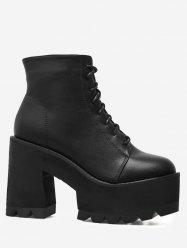 Chunky Heel  Platform Lace UP Boots -