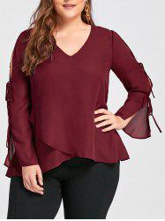 Plus Size Slit Sleeve V Neck Blouse -