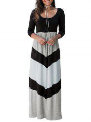 Color Block Floor Length Dress -