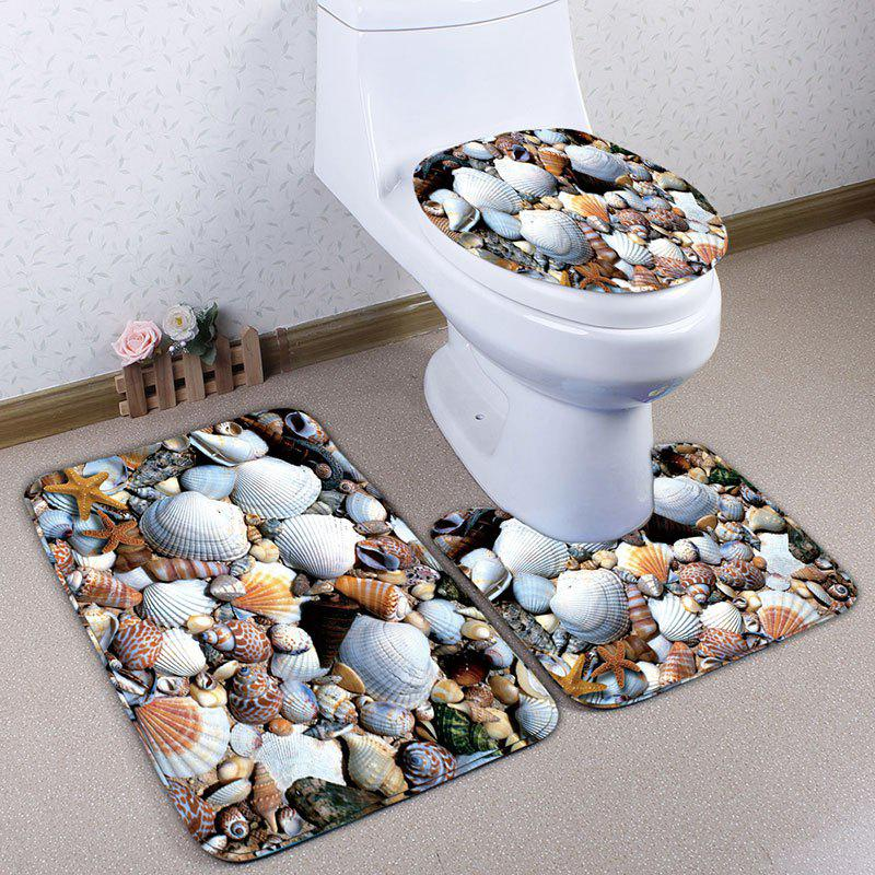 Affordable 3Pcs Flannel Shell Printed Bath Toilet Mats Set