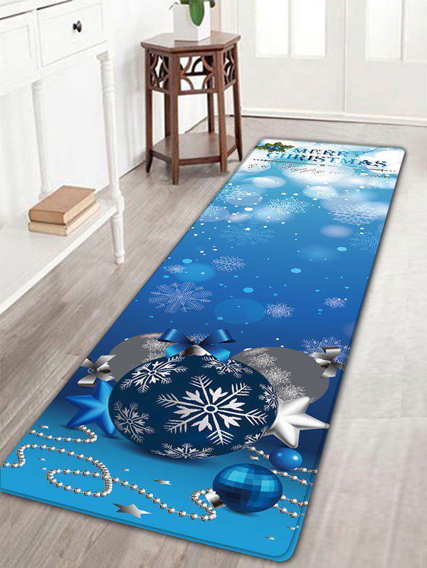 Christmas Ball Ornaments Flannel Nonslip Bath RugHOME<br><br>Size: W16 INCH * L47 INCH; Color: BLUE; Products Type: Bath rugs; Materials: Flannel; Pattern: Ball,Snowflake; Style: Festival; Shape: Rectangular; Package Contents: 1 x Rug;