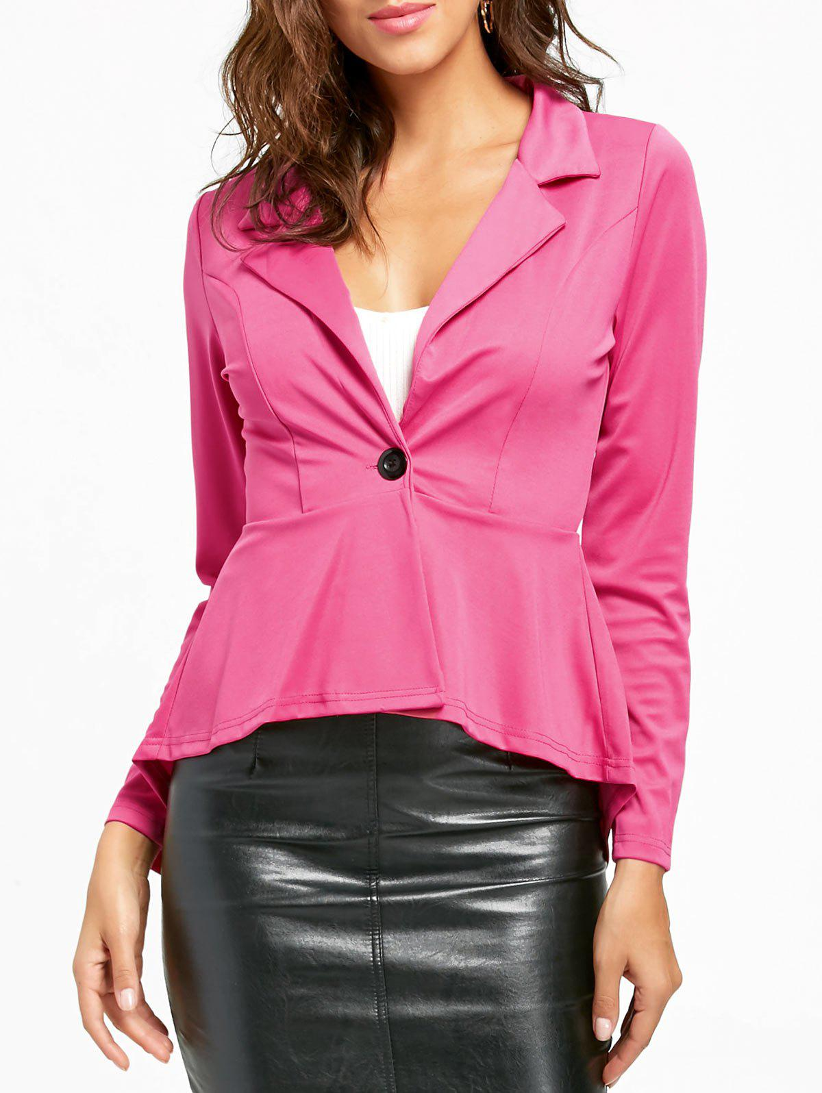 Cheap One Button Flounce High Low Blazer