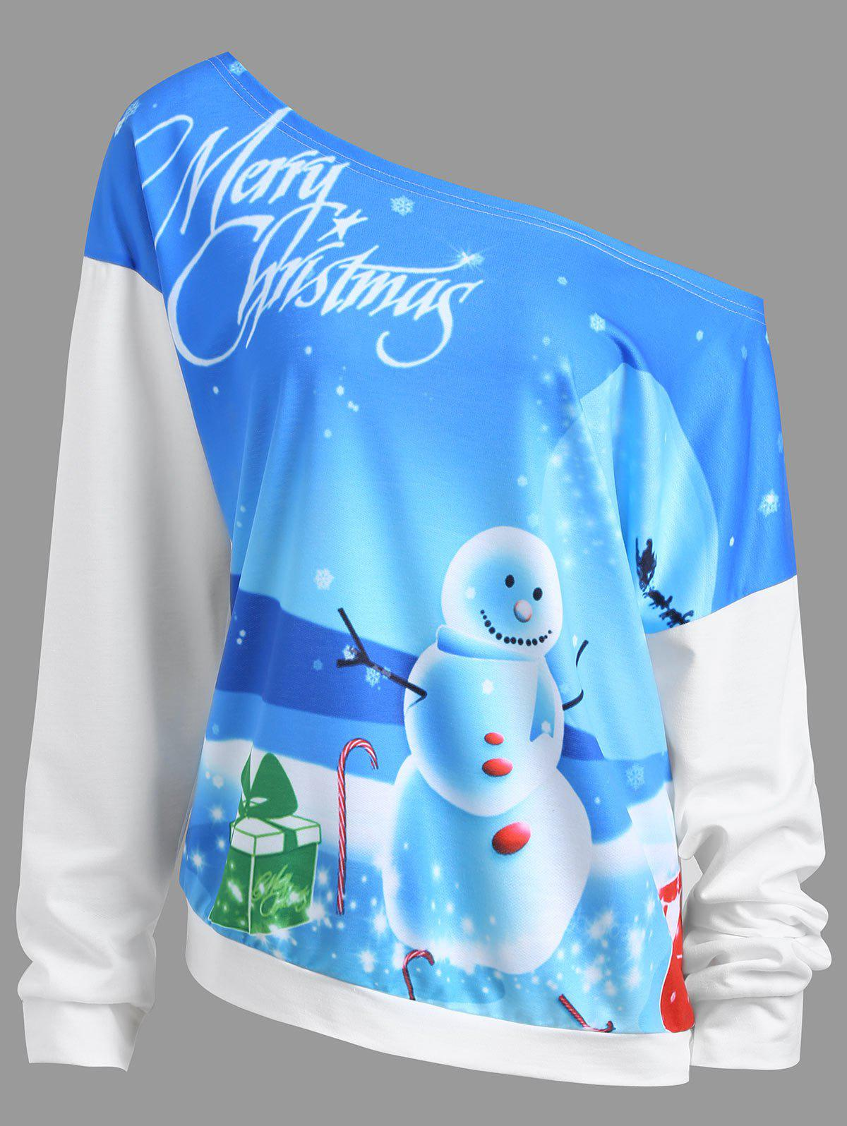 Unique Merry Christmas Snowman Moon Plus Size Sweatshirt