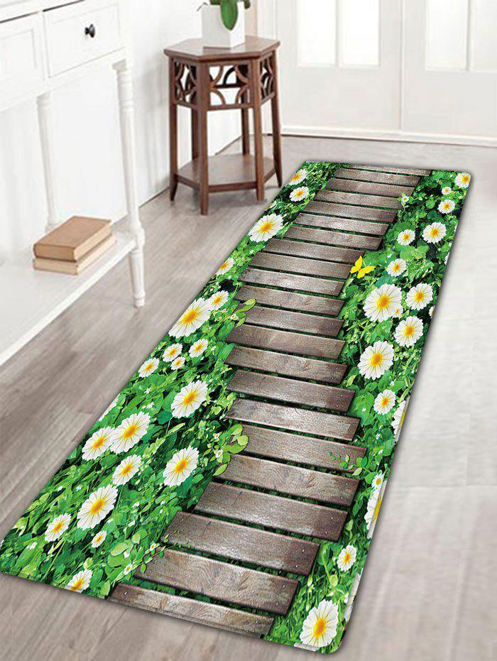 Flower Wood Path Printed Flannel Nonslip Bath RugHOME<br><br>Size: W16 INCH * L47 INCH; Color: WOOD COLOR; Products Type: Bath rugs; Materials: Flannel; Pattern: Floral,Wood Grain; Style: Novelty; Shape: Rectangular; Package Contents: 1 x Rug;