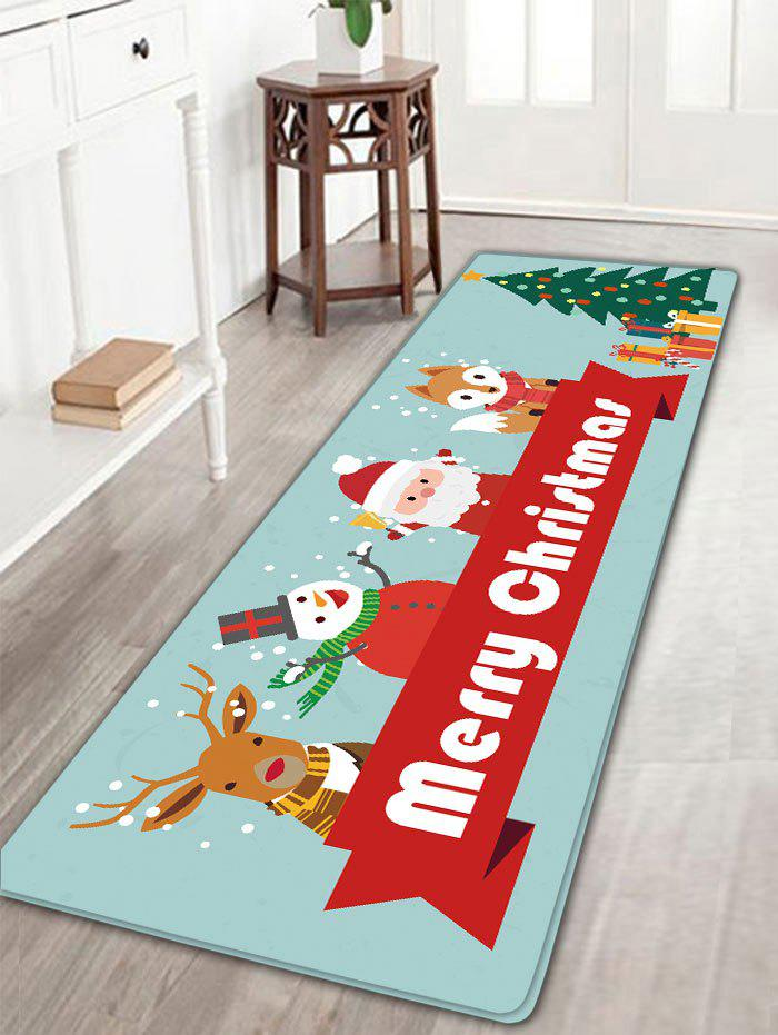Christmas Elk Snowman Santa Claus Fox Tree Nonslip Bath MatHOME<br><br>Size: W16 INCH * L47 INCH; Color: CLOUDY; Products Type: Bath rugs; Materials: Flannel; Pattern: Animal,Santa Claus,Snowman; Style: Festival; Shape: Rectangular; Package Contents: 1 x Rug;