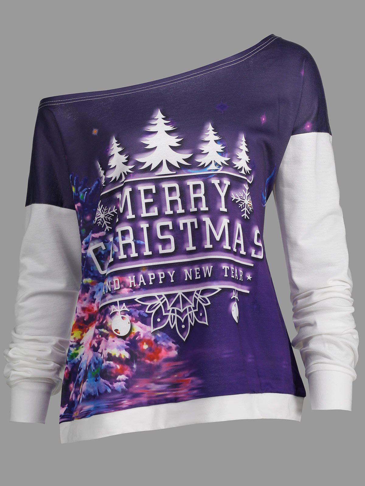 Merry Christmas Tree Plus Size Drop Shoulder SweatshirtWOMEN<br><br>Size: 5XL; Color: WHITE; Material: Cotton,Polyester; Shirt Length: Regular; Sleeve Length: Full; Style: Fashion; Pattern Style: Letter,Moon; Season: Fall,Spring; Weight: 0.3700kg; Package Contents: 1 x Sweatshirt;