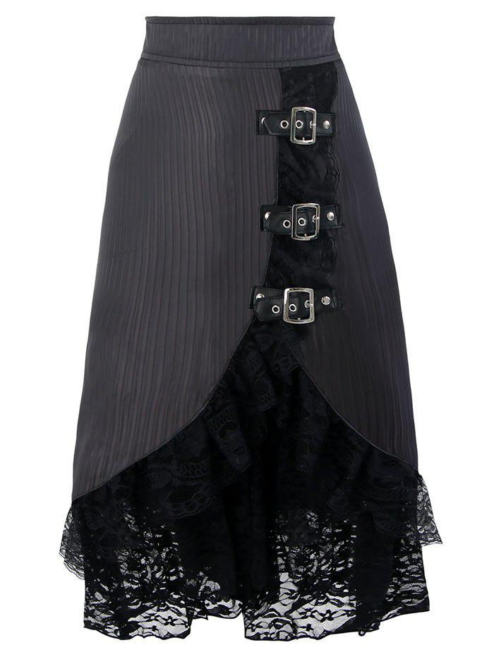 Lace Tier Ruffles Midi SkirtWOMEN<br><br>Size: S; Color: BLACK; Material: Polyester; Pattern Type: Solid; Embellishment: Lace; Weight: 0.3500kg; Package Contents: 1 x Skirt;