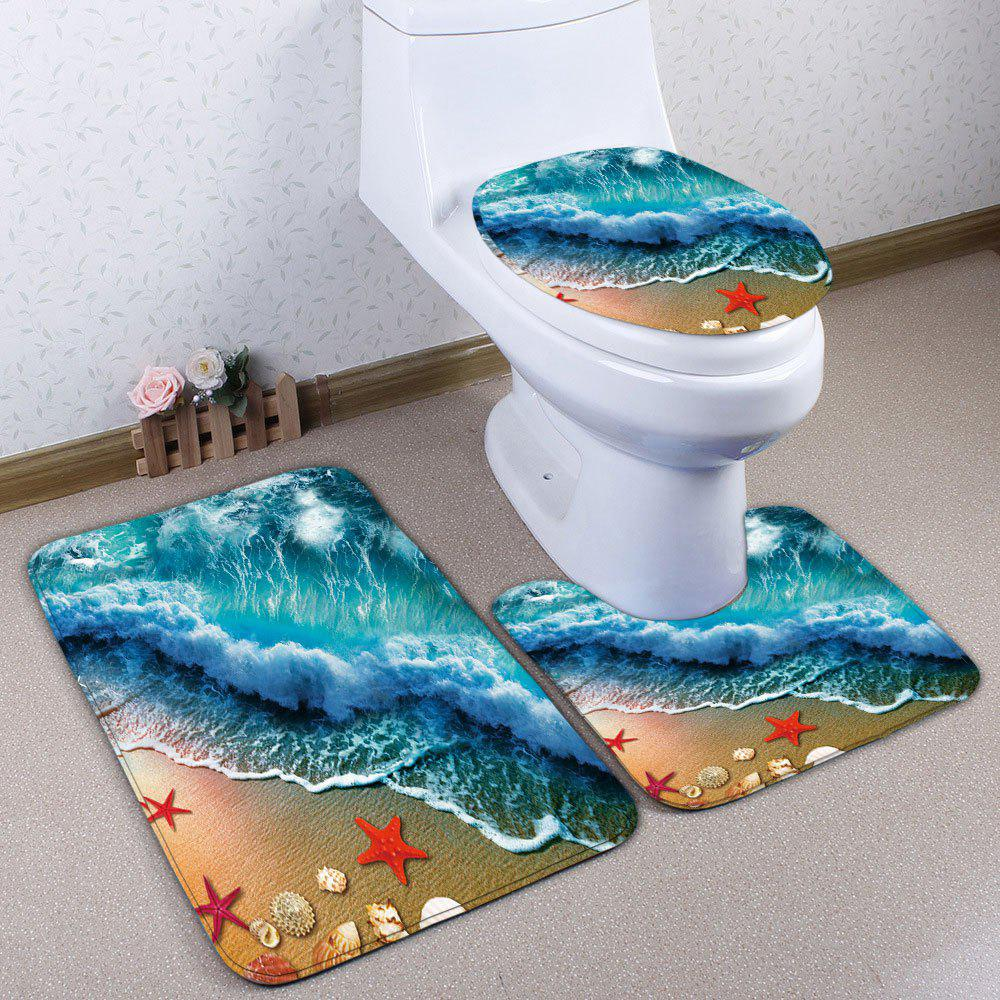 Buy 3Pcs Flannel Sea Tide Print Beach Style Bath Mats Set