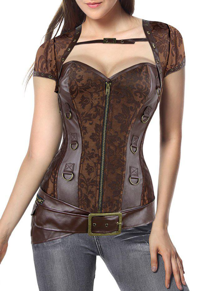 Vintage Zip Up Jacquard CorsetWOMEN<br><br>Size: 2XL; Color: BROWN; Material: Polyester,Spandex; Pattern Type: Solid; Embellishment: Criss-Cross,Zippers; Weight: 0.3500kg; Package Contents: 1 x Belt  1 x Corset  1 x Cape  1 x T Back;