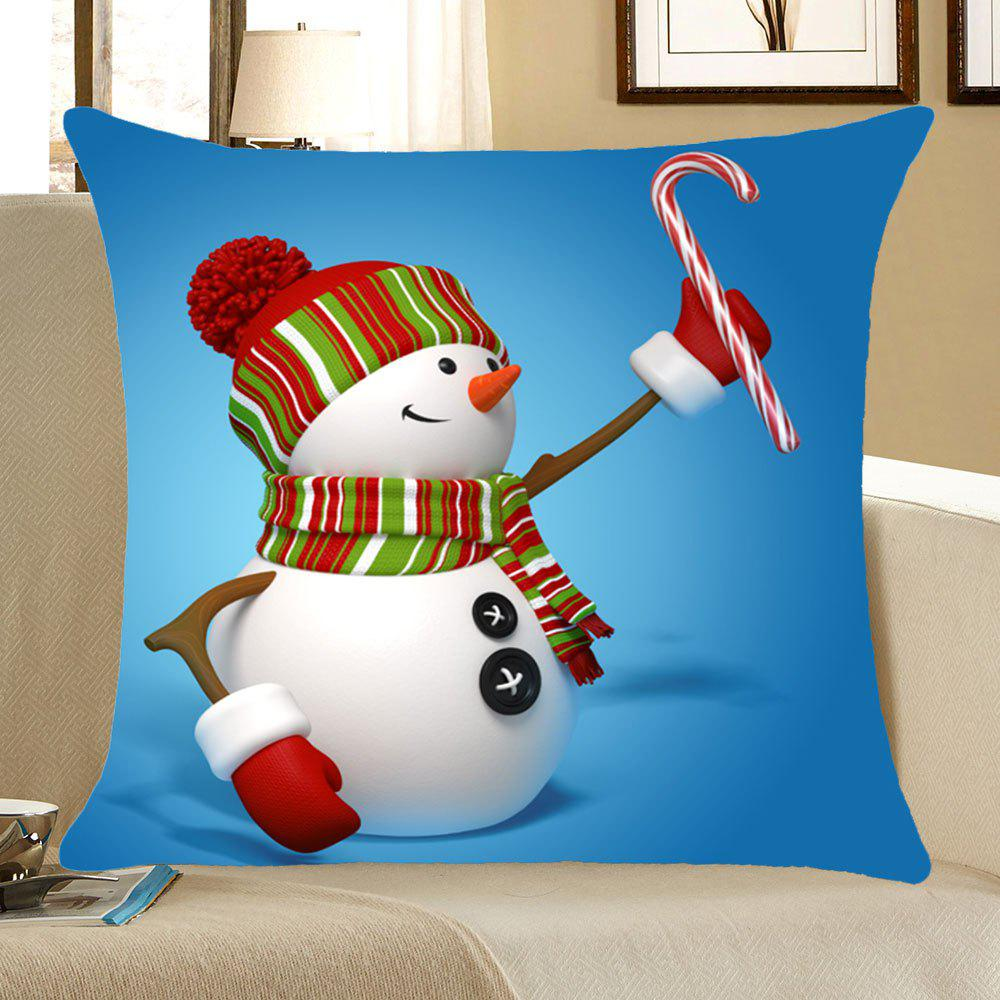 Christmas Snowman Print Square Pillow CaseHOME<br><br>Size: W18 INCH * L18 INCH; Color: COLORFUL; Material: Linen; Pattern: Snowman; Style: Festival; Shape: Square; Weight: 0.0800kg; Package Contents: 1 x Pillow Case;