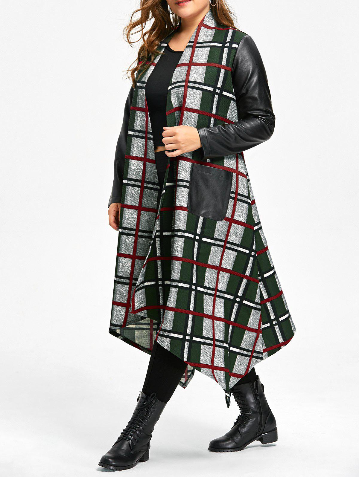 Plus Size Leather Insert Plaid Longline Asymmetrical CoatWOMEN<br><br>Size: 5XL; Color: COLORMIX; Clothes Type: Others; Material: Polyester; Type: Asymmetric Length; Shirt Length: Long; Sleeve Length: Full; Collar: Collarless; Pattern Type: Plaid; Style: Fashion; Season: Fall,Spring; Weight: 0.7000kg; Package Contents: 1 x Coat;