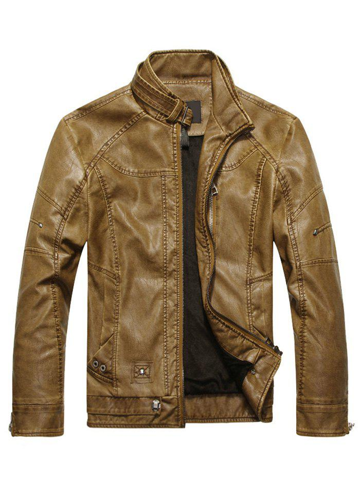 Outfits Mens Faux Leather Biker Jacket