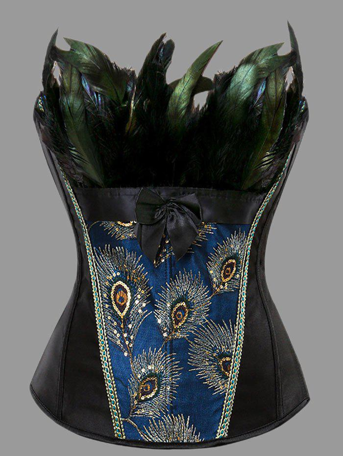 Plus Size Feather Lace-up CorsetWOMEN<br><br>Size: 3XL; Color: BLACK; Material: Polyester; Pattern Type: Print; Embellishment: Criss-Cross,Feathers; Weight: 0.3500kg; Package Contents: 1 x Corset;