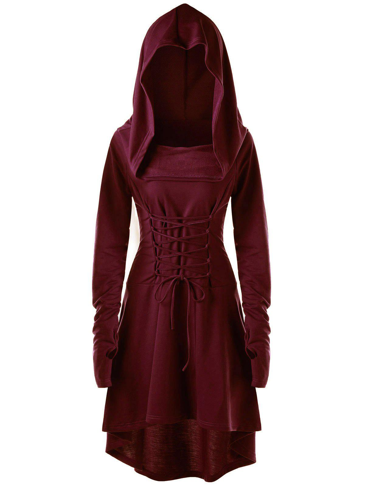 Sale Hooded Lace-up Long Sleeve High Low Dress