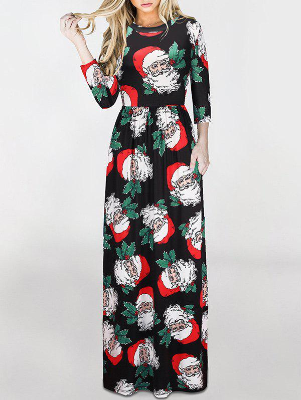 Best Christmas Santa Claus Print Maxi Dress