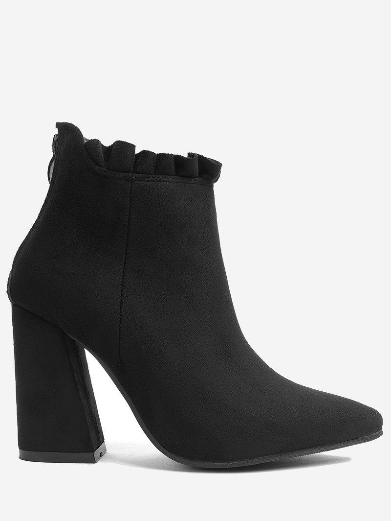 Trendy Chunky Heel Pointed Toe Ruffles Boots