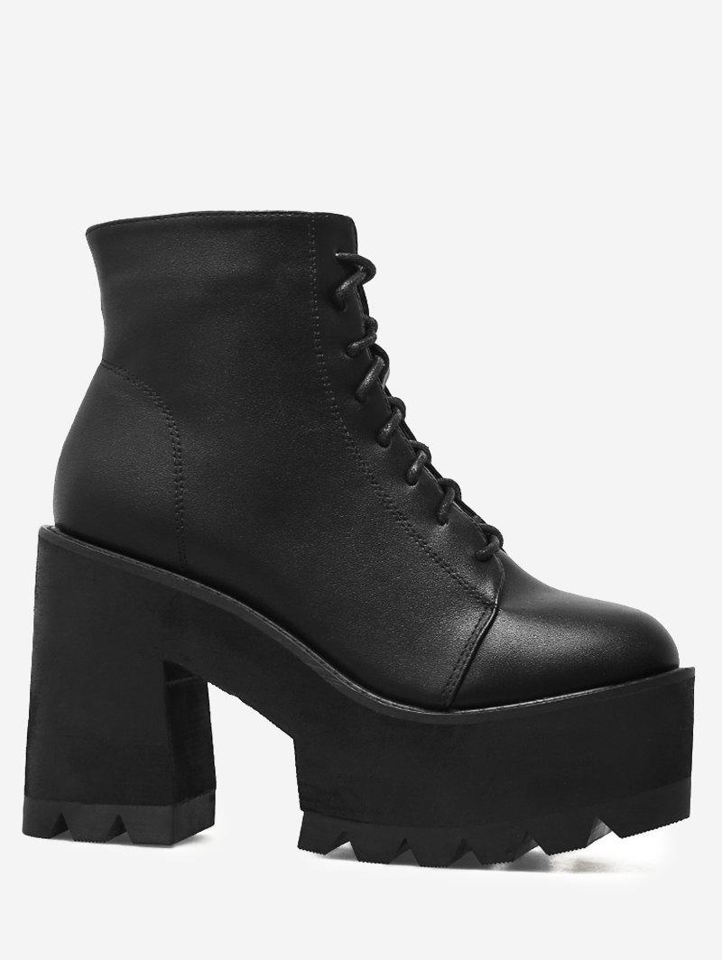8fb38627537 2019 Chunky Heel Platform Lace Up Boots
