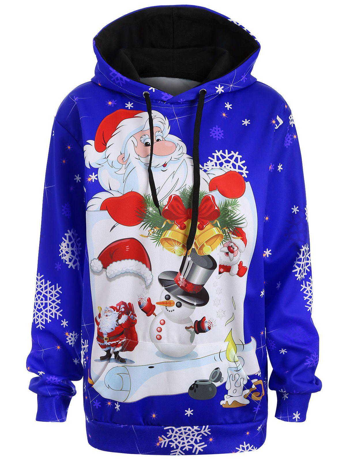 Christmas Plus Size Snowman Kangaroo Pocket HoodieWOMEN<br><br>Size: L; Color: BLUE; Material: Polyester; Shirt Length: Long; Sleeve Length: Full; Style: Casual; Pattern Style: Figure; Season: Fall,Spring; Weight: 0.3700kg; Package Contents: 1 x Hoodie;