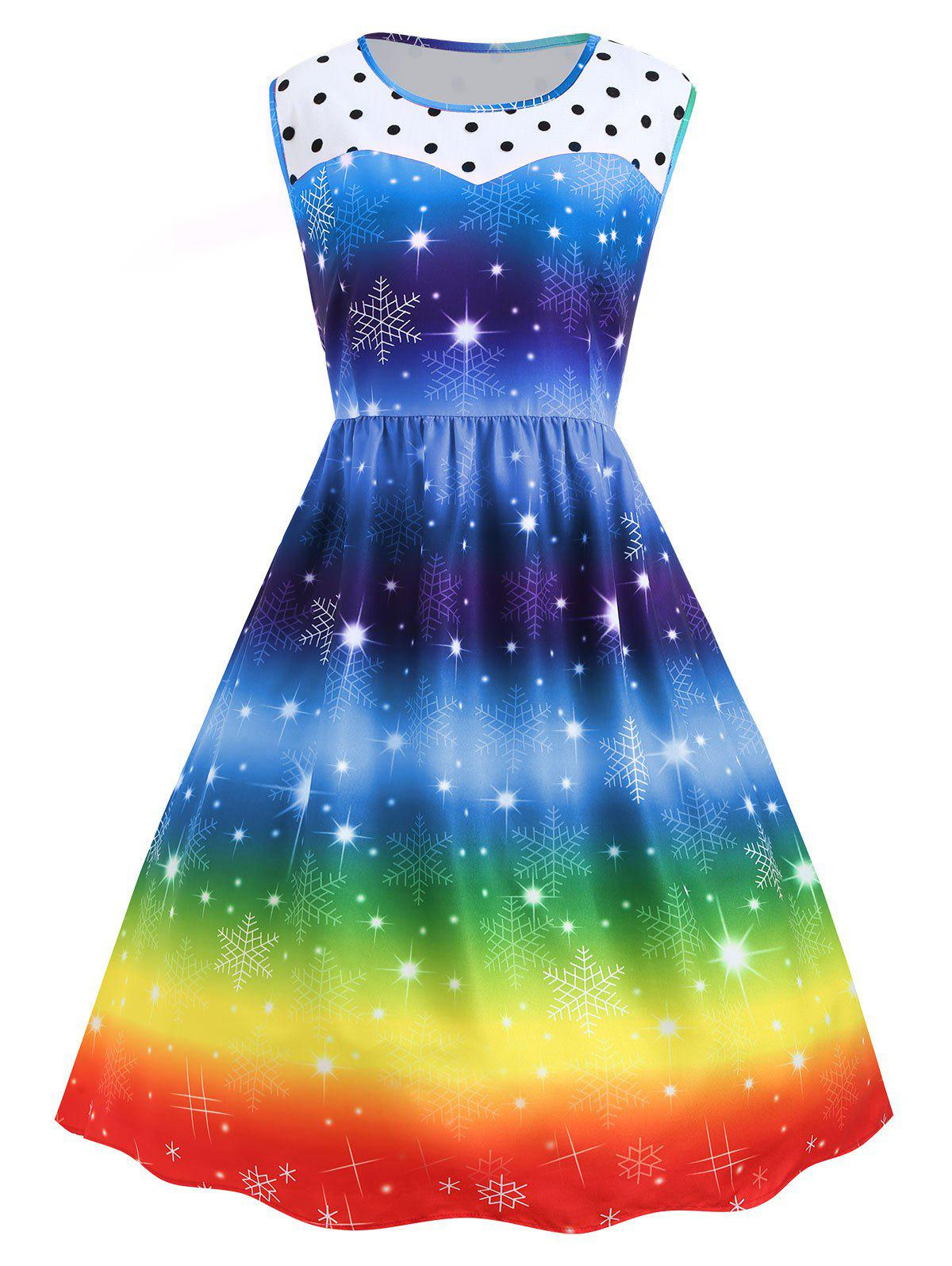 Shops Plus Size Christmas Snowflake Rainbow Color Vintage Dress