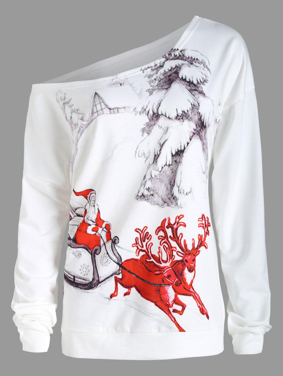Christmas Sleigh Plus Size Skew Neck SweatshirtWOMEN<br><br>Size: XL; Color: WHITE; Material: Cotton Blend,Polyester; Shirt Length: Regular; Sleeve Length: Full; Style: Fashion; Pattern Style: Animal,Character; Season: Fall,Winter; Weight: 0.3900kg; Package Contents: 1 x Sweatshirt;