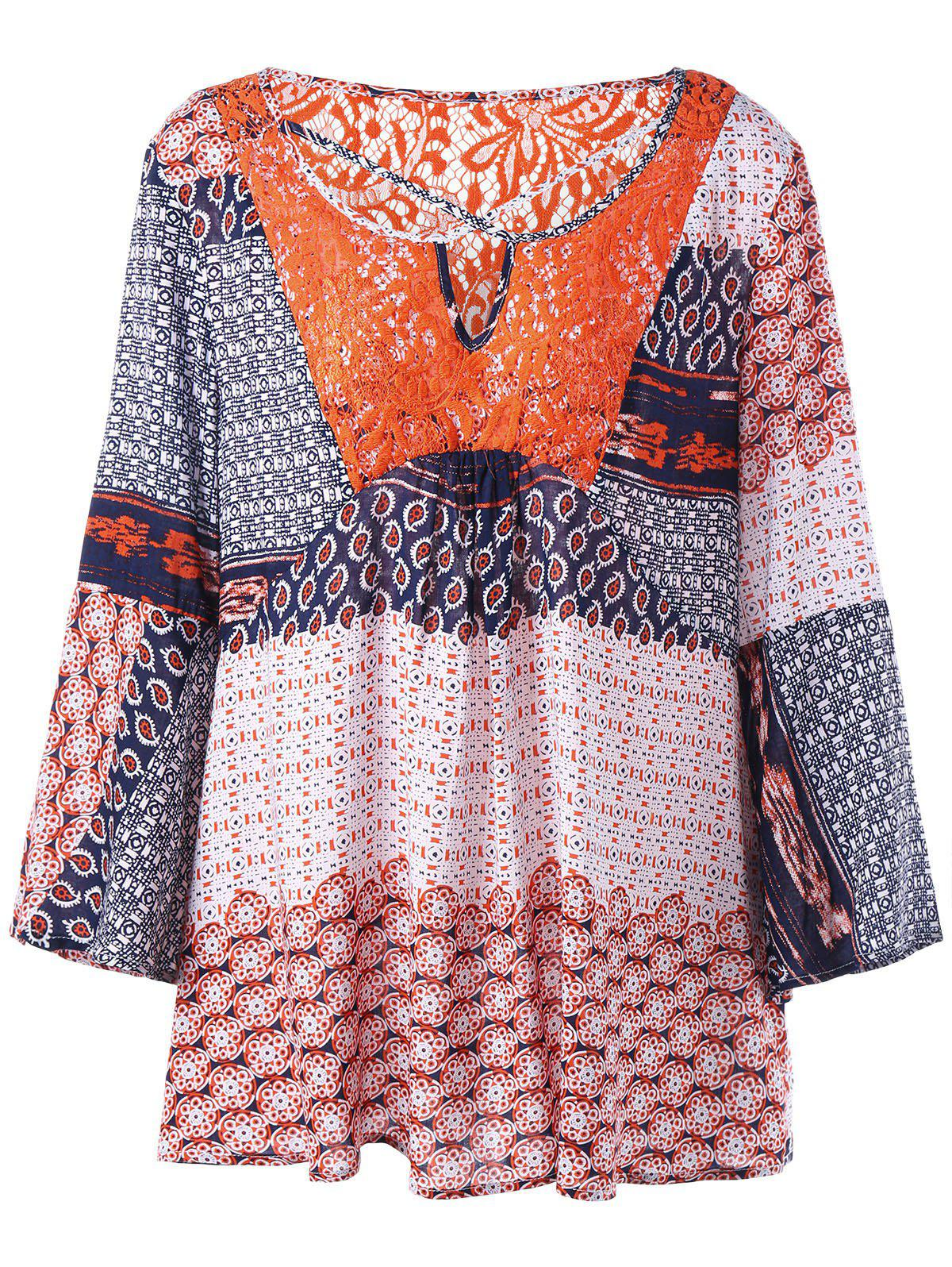 Hot Plus Size Lace Insert Patchwork Blouse