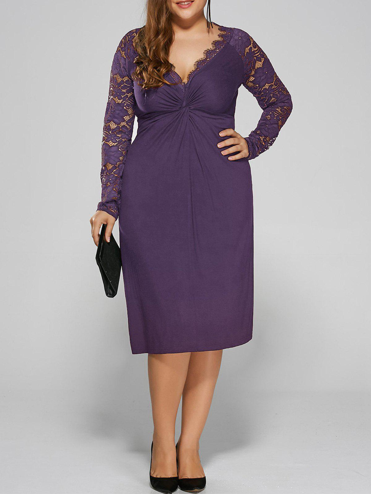 Plus Size Twist Front Lace Insert Fitted DressWOMEN<br><br>Size: 4XL; Color: PURPLE; Style: Brief; Material: Polyester,Spandex; Silhouette: Straight; Dresses Length: Knee-Length; Neckline: Plunging Neck; Sleeve Length: Long Sleeves; Pattern Type: Floral; With Belt: No; Season: Fall,Spring; Weight: 0.3900kg; Package Contents: 1 x Dress;