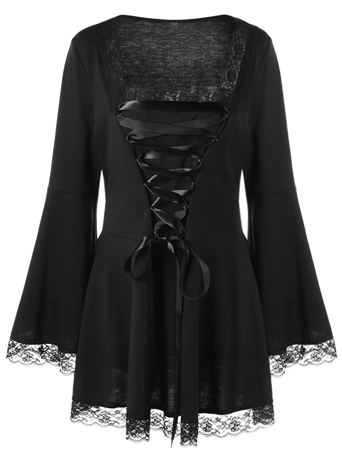 Halloween Plus Size Lace Up Bell Sleeve TopWOMEN<br><br>Size: 3XL; Color: BLACK; Material: Polyester,Spandex; Shirt Length: Long; Sleeve Length: Full; Collar: Square Neck; Style: Casual; Season: Fall,Spring; Embellishment: Lace; Pattern Type: Solid; Weight: 0.3700kg; Package Contents: 1 x Top;