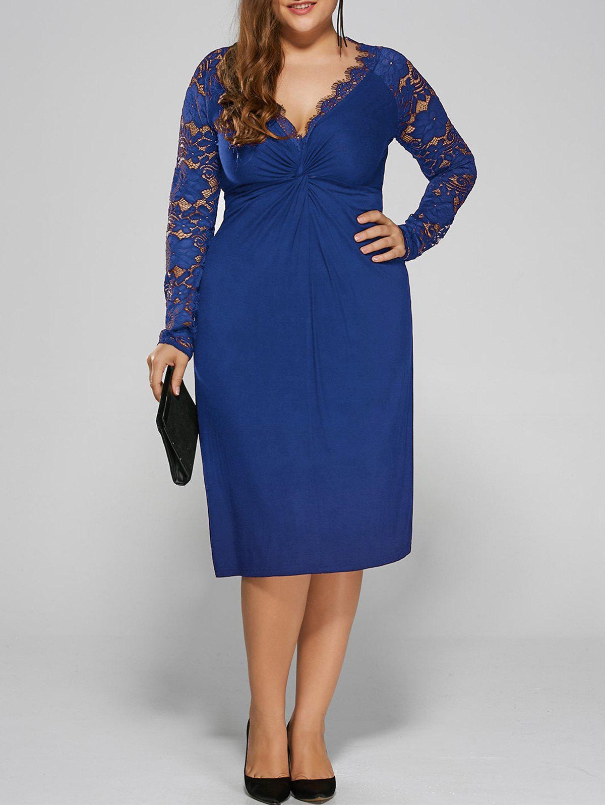 Plus Size Twist Front Lace Insert Fitted DressWOMEN<br><br>Size: 5XL; Color: BLUE; Style: Brief; Material: Polyester,Spandex; Silhouette: Straight; Dresses Length: Knee-Length; Neckline: Plunging Neck; Sleeve Length: Long Sleeves; Pattern Type: Floral; With Belt: No; Season: Fall,Spring; Weight: 0.3900kg; Package Contents: 1 x Dress;