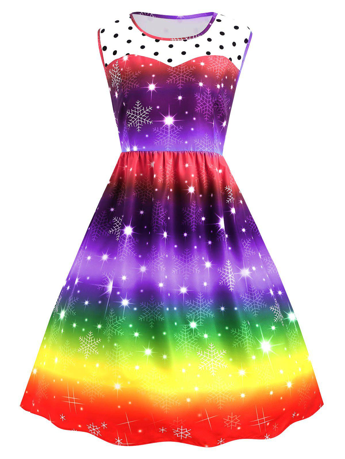 Plus Size Christmas Snowflake Rainbow Color Vintage DressWOMEN<br><br>Size: 3XL; Color: PURPLE; Style: Cute; Material: Polyester; Silhouette: Ball Gown; Dresses Length: Mid-Calf; Neckline: Round Collar; Sleeve Length: Sleeveless; Waist: High Waisted; Embellishment: Spliced; Pattern Type: Polka Dot,Print; With Belt: No; Season: Fall,Winter; Weight: 0.3300kg; Package Contents: 1 x Dress;