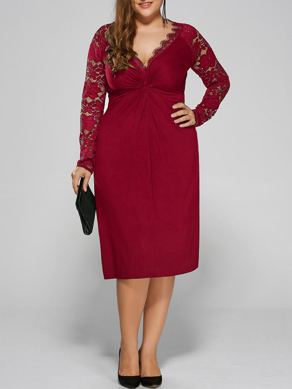 Plus Size Twist Front Lace Insert Fitted DressWOMEN<br><br>Size: XL; Color: RED; Style: Brief; Material: Polyester,Spandex; Silhouette: Straight; Dresses Length: Knee-Length; Neckline: Plunging Neck; Sleeve Length: Long Sleeves; Pattern Type: Floral; With Belt: No; Season: Fall,Spring; Weight: 0.3900kg; Package Contents: 1 x Dress;