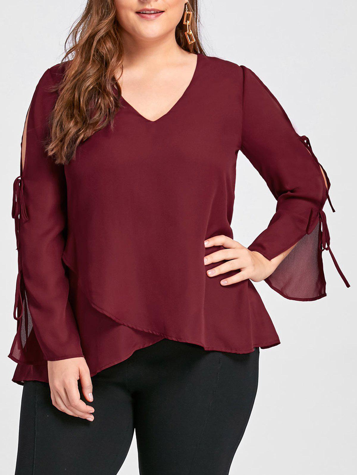 Plus Size Slit Sleeve V Neck BlouseWOMEN<br><br>Size: 2XL; Color: WINE RED; Material: Polyester; Shirt Length: Long; Sleeve Length: Full; Collar: V-Neck; Style: Casual; Season: Fall,Spring; Pattern Type: Solid; Weight: 0.2100kg; Package Contents: 1 x Blouse;