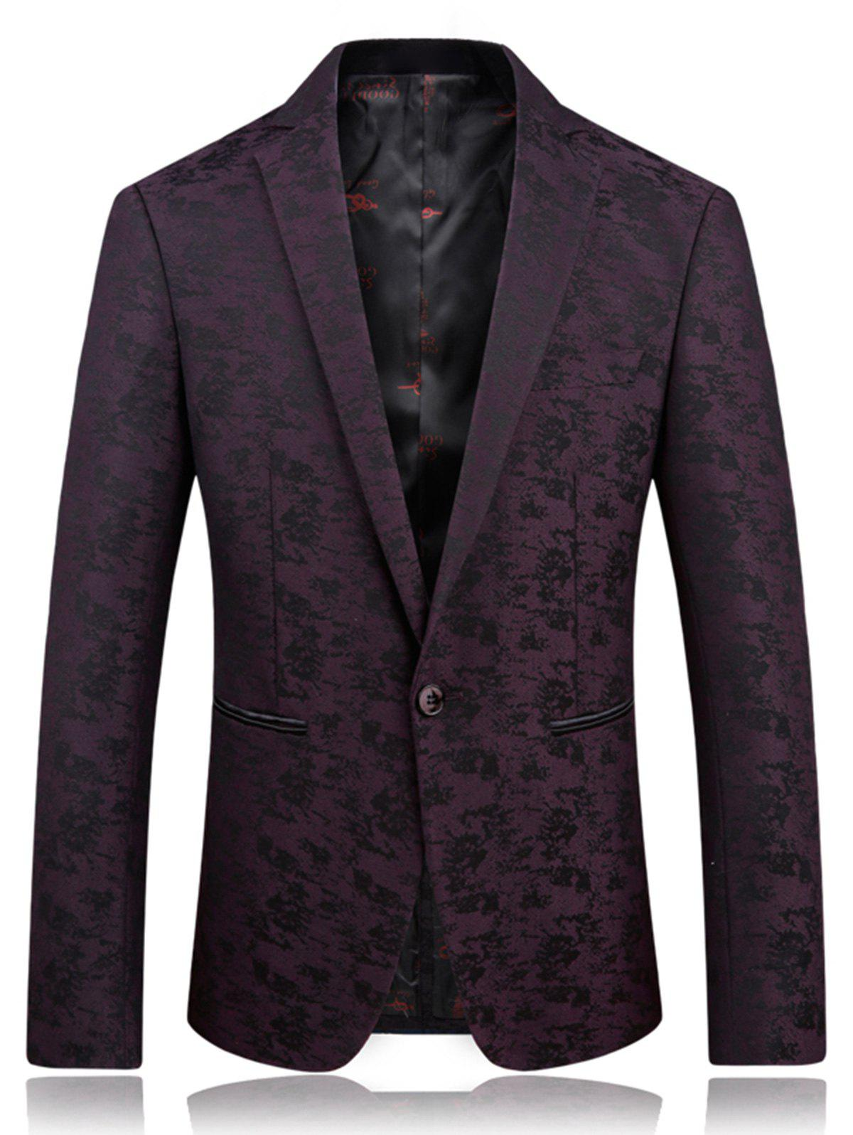 Fashion Lapel One Button Jacquard Edging Blazer