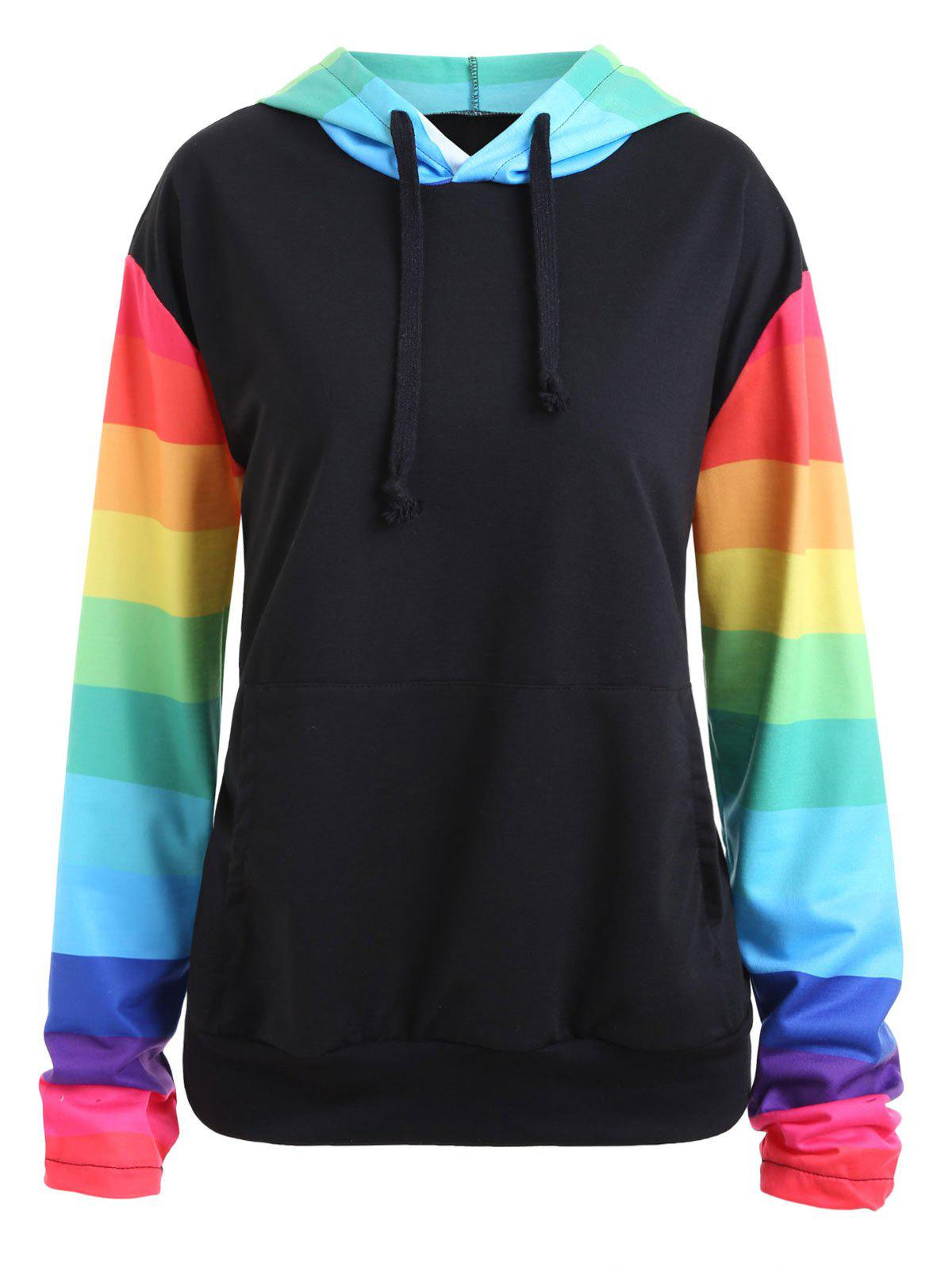 Plus Size Raglan Sleeve Rainbow Stripe  Kangaroo HoodieWOMEN<br><br>Size: 2XL; Color: BLACK; Material: Cotton Blend,Polyester; Shirt Length: Regular; Sleeve Length: Full; Style: Fashion; Pattern Style: Others,Striped; Embellishment: Front Pocket; Season: Fall,Winter; Weight: 0.4500kg; Package Contents: 1 x Hoodie;