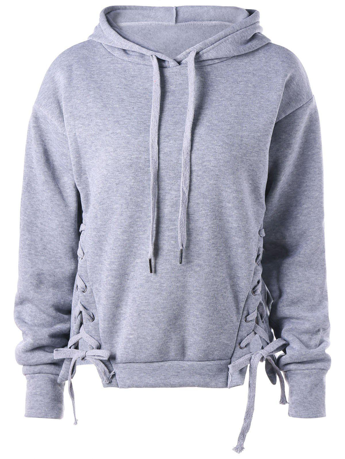 Cheap Lace Up Drawstring Neck Hoodie