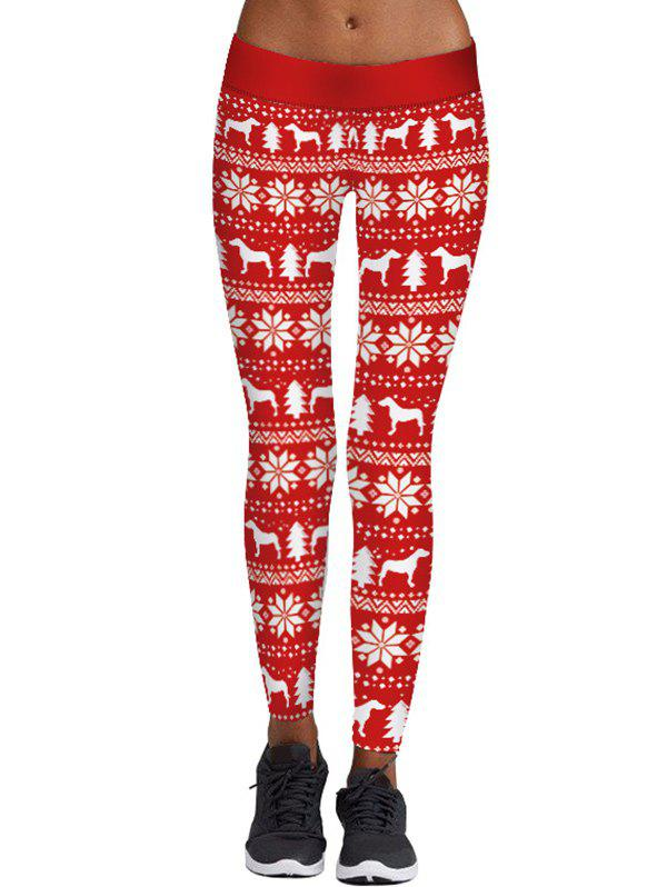 Christmas Tree Snowflake Print Skinny LeggingsWOMEN<br><br>Size: M; Color: RED; Style: Casual; Material: Polyester,Spandex; Waist Type: Mid; Pattern Type: Print; Weight: 0.2700kg; Package Contents: 1 x Leggings;