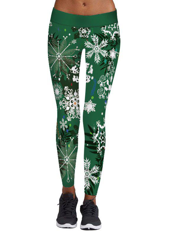 Elastic Waist Christmas Snowflake Printed LeggingsWOMEN<br><br>Size: L; Color: GREEN; Style: Casual; Material: Polyester,Spandex; Waist Type: Mid; Pattern Type: Print; Weight: 0.2700kg; Package Contents: 1 x Leggings;