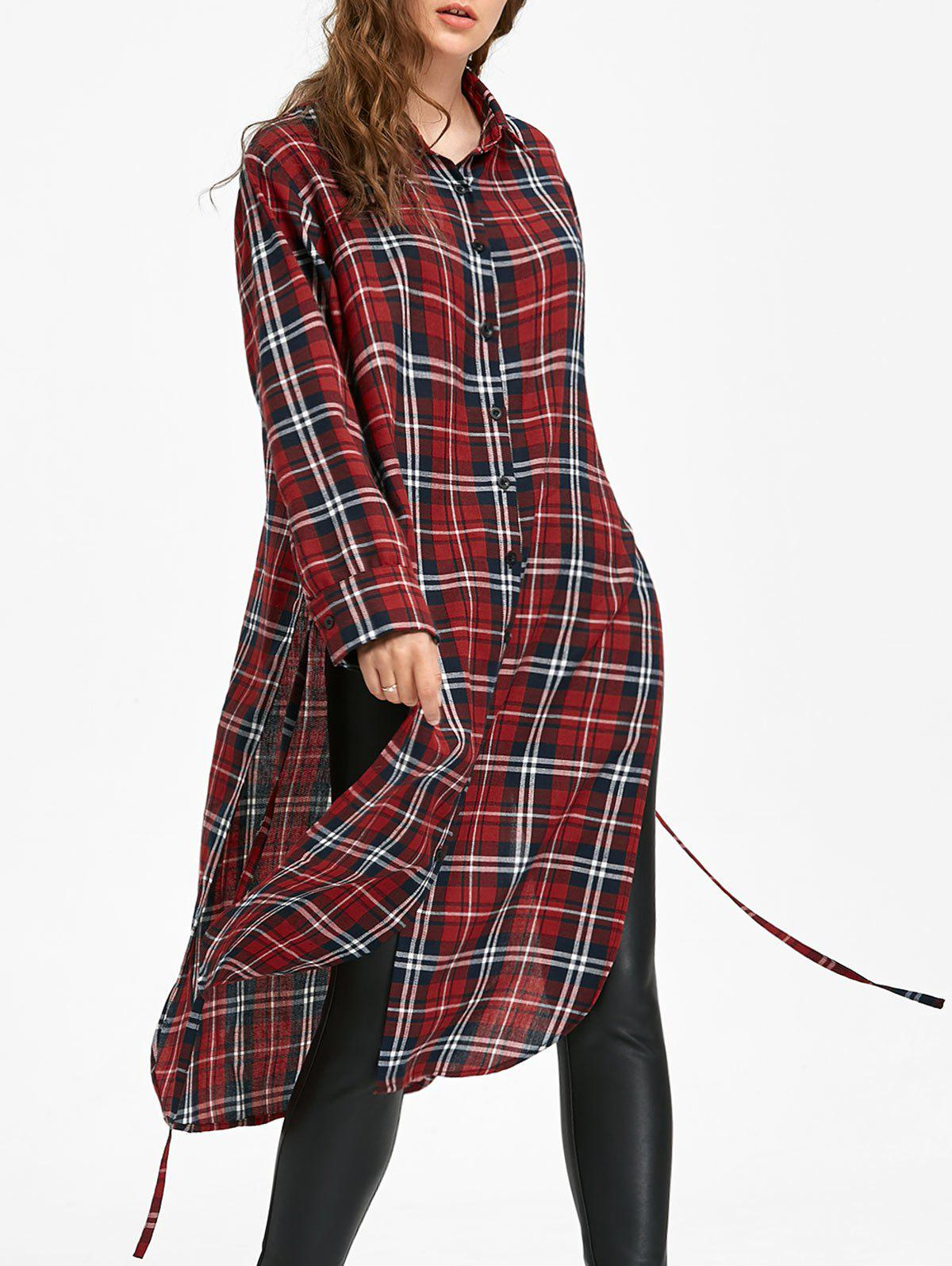 Store Button Down Long Blouse Checked Dress with Tie