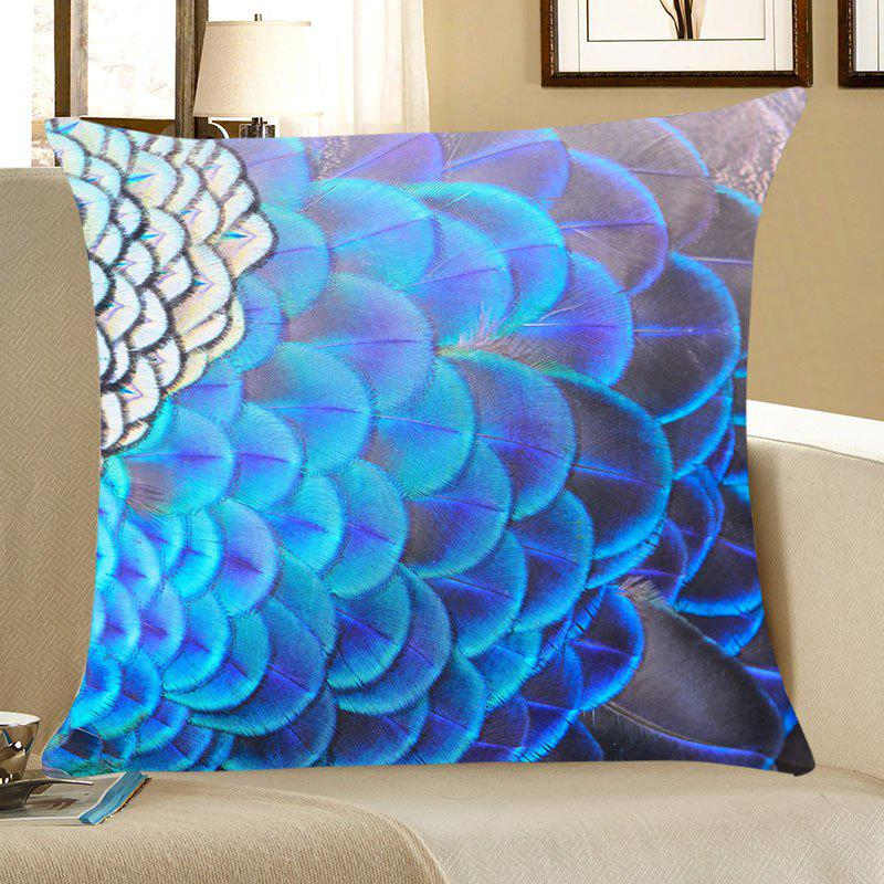 Peacock Feathers Print Throw Pillow CaseHOME<br><br>Size: W18 INCH * L18 INCH; Color: BLUE; Material: Linen; Fabric Type: Linen; Pattern: Feather; Style: Accent/Decorative; Shape: Square; Weight: 0.0800kg; Package Contents: 1 x Pillow Case;