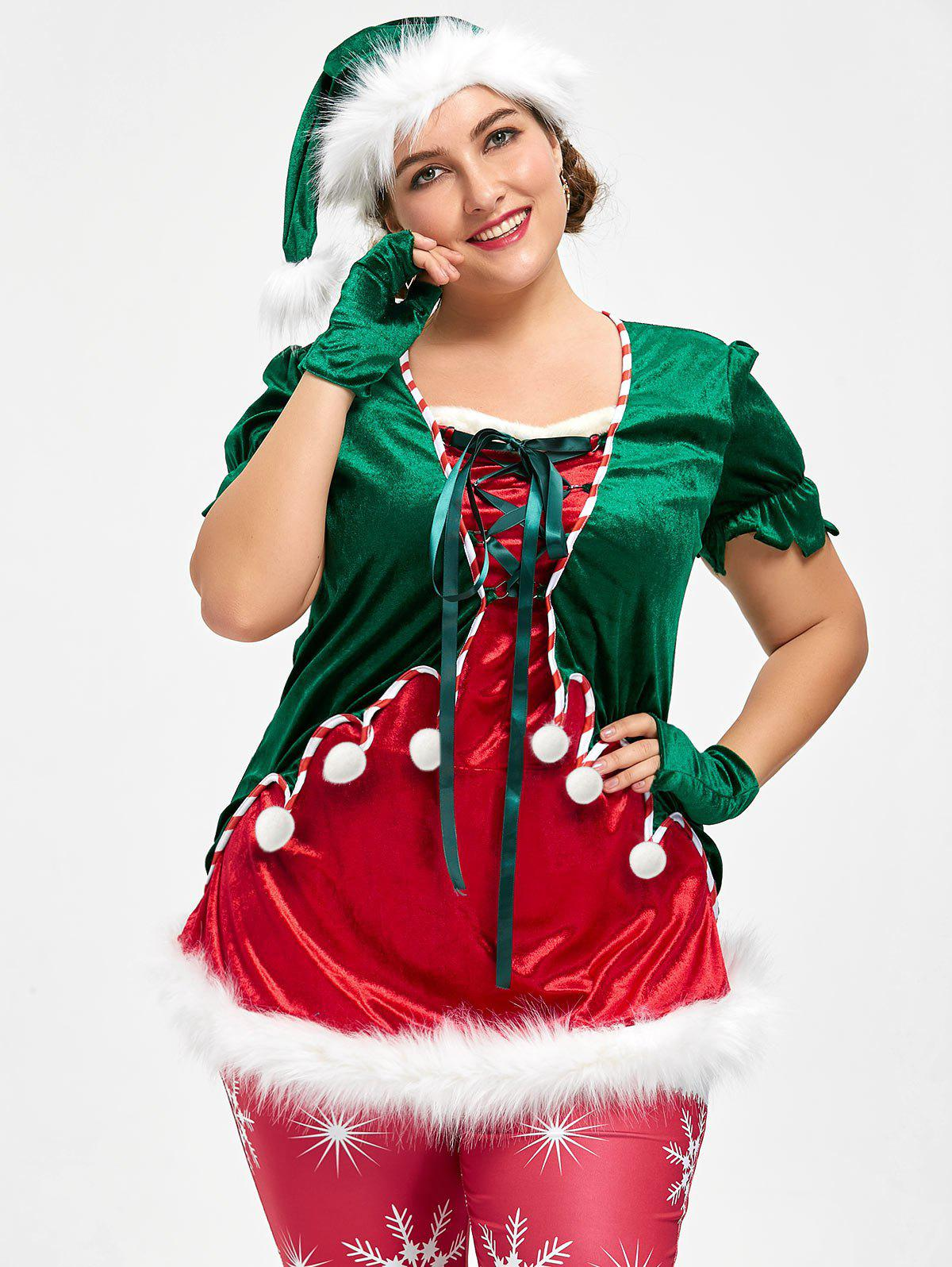 Christmas Plus Size Top and Santa Claus hatWOMEN<br><br>Size: 4XL; Color: RED AND GREEN; Material: Polyester; Shirt Length: Regular; Sleeve Length: Short; Collar: Square Neck; Style: Fashion; Season: Fall,Spring; Pattern Type: Solid; Weight: 0.5000kg; Package Contents: 1 x Top  1 x Hat  2x Glove;