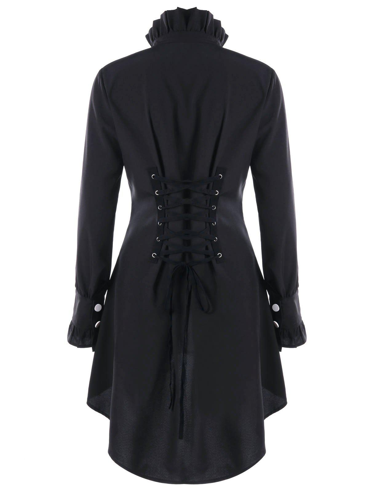 Ruffle Collar Lace Up High Low Hem CoatWOMEN<br><br>Size: L; Color: BLACK; Clothes Type: Trench; Material: Polyester; Type: Slim; Shirt Length: Long; Sleeve Length: Full; Collar: Ruff Collar; Pattern Type: Solid; Style: Gothic; Season: Fall,Spring; Weight: 0.3000kg; Package Contents: 1 x Coat;